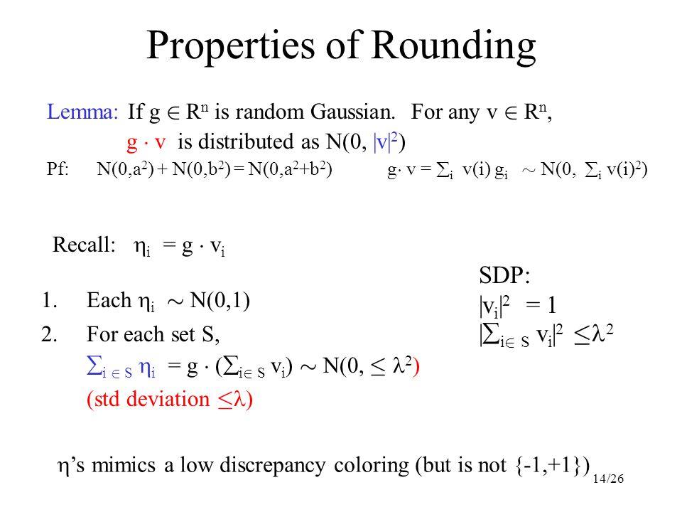 14/26 Properties of Rounding Lemma: If g 2 R n is random Gaussian. For any v 2 R n, g ¢ v is distributed as N(0, |v| 2 ) Pf: N(0,a 2 ) + N(0,b 2 ) = N