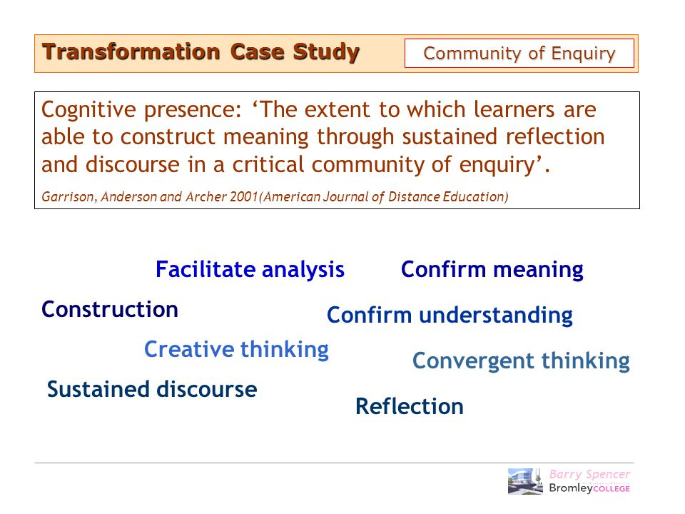 Barry Spencer Construction Confirm meaning Creative thinking Convergent thinking Facilitate analysis Confirm understanding Sustained discourse Transfo