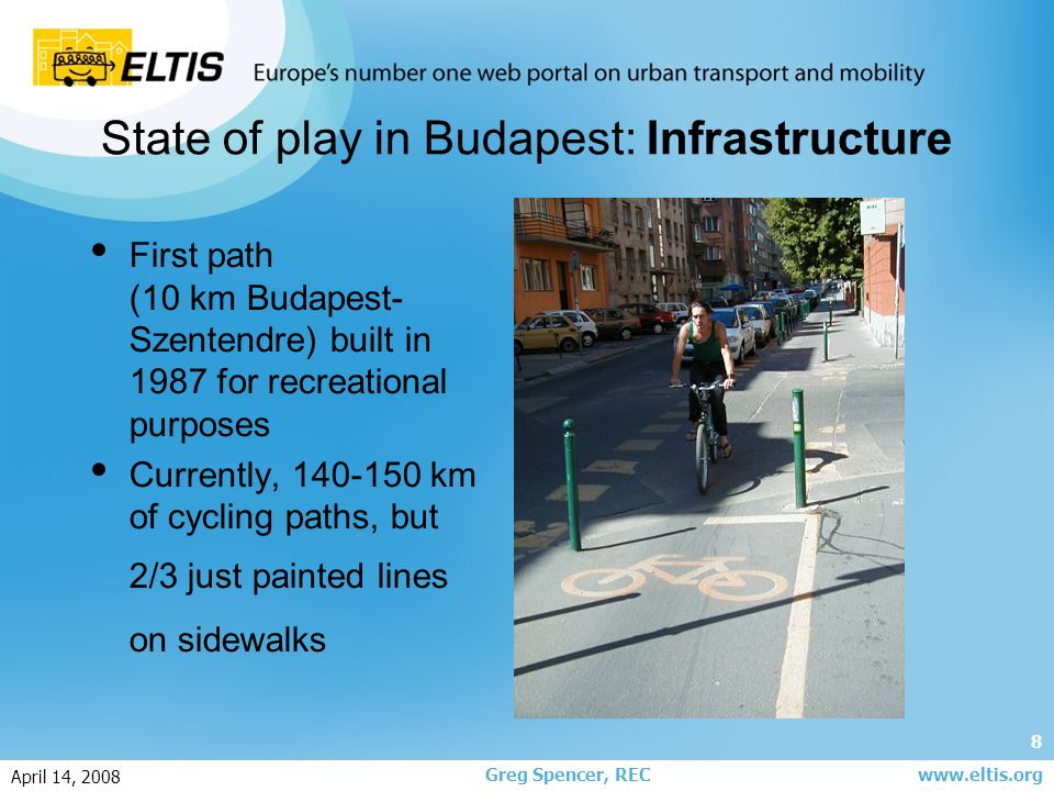 9 Greg Spencer, REC April 14, 2008 www.eltis.org State of play in Budapest: Infrastructure Paths mainly on one side of street only No coherent network (~500 km needed to cover full city) Paths lead to nowhere