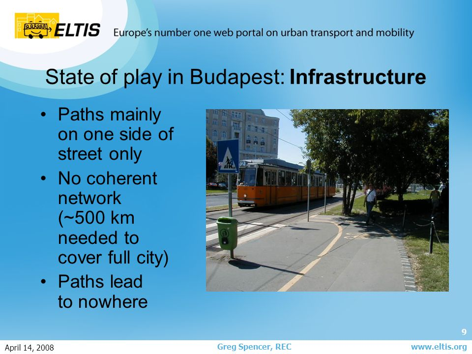 9 Greg Spencer, REC April 14, 2008 www.eltis.org State of play in Budapest: Infrastructure Paths mainly on one side of street only No coherent network