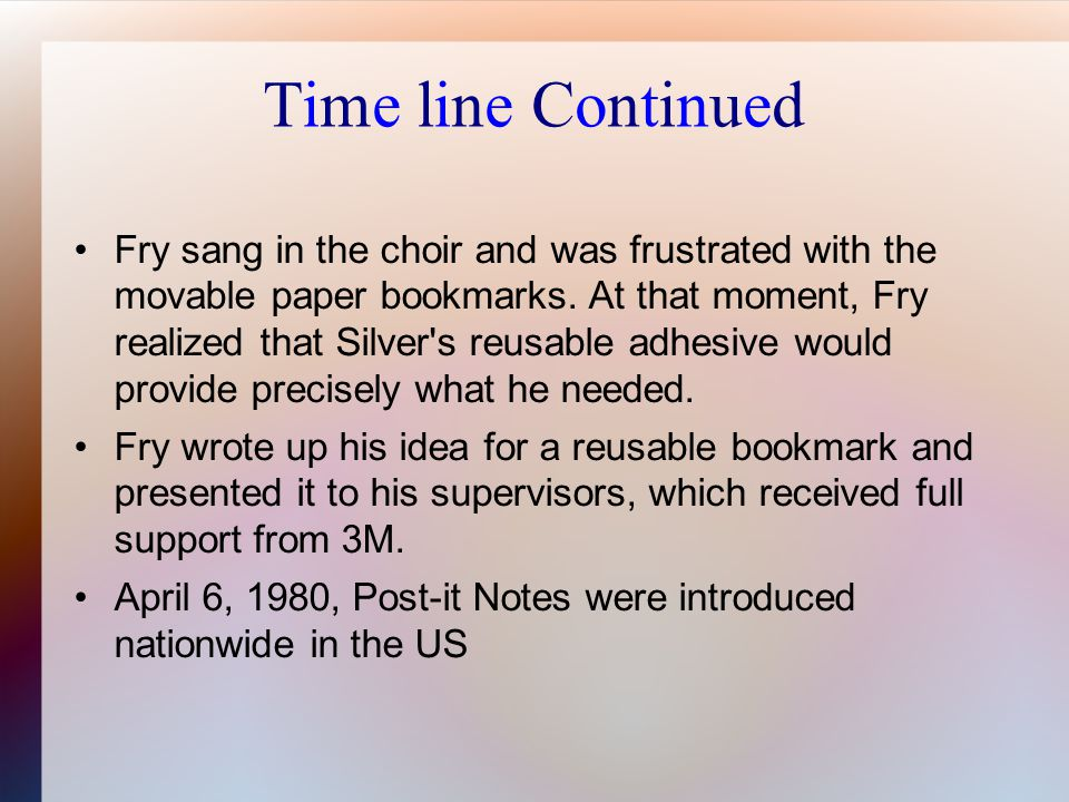 Time line Continued Fry sang in the choir and was frustrated with the movable paper bookmarks.