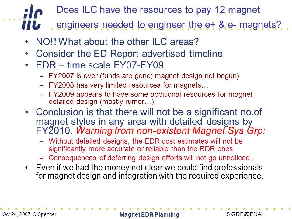 Oct 24, 2007 C.Spencer Magnet EDR Planning 6 GDE@FNAL EDR Magnet Design & Deliverables, what level of detail would be best for project.