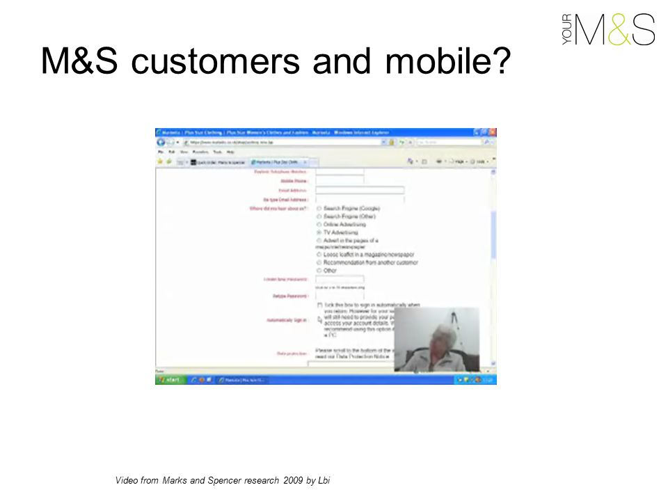 M&S customers and mobile Video from Marks and Spencer research 2009 by Lbi