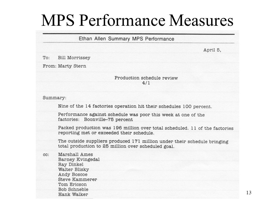 13 MPS Performance Measures