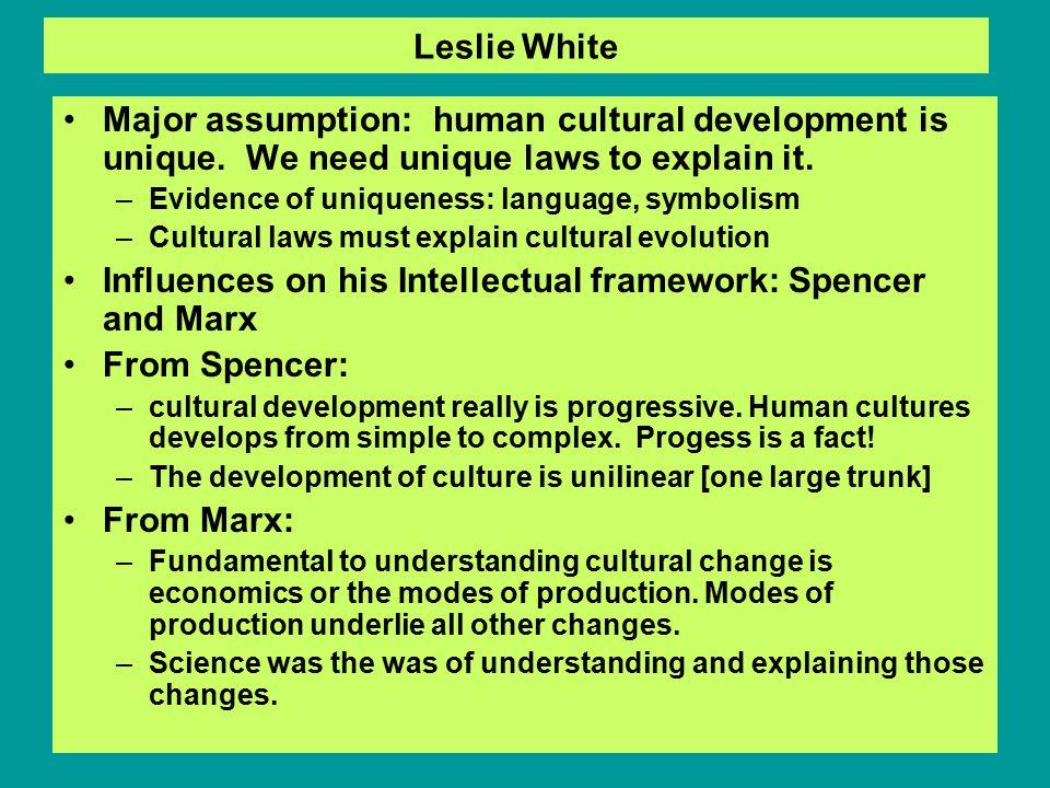 Leslie White Major assumption: human cultural development is unique.