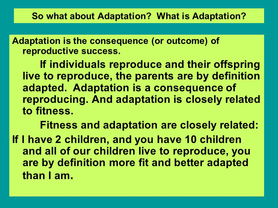 So what about Adaptation. What is Adaptation.