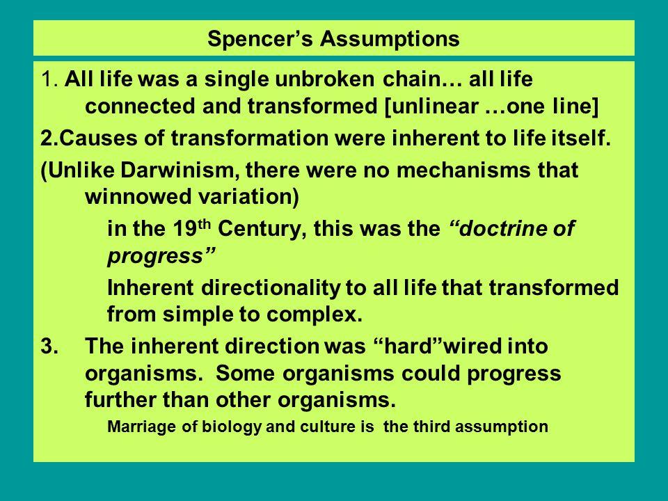 Spencer's Assumptions 1.