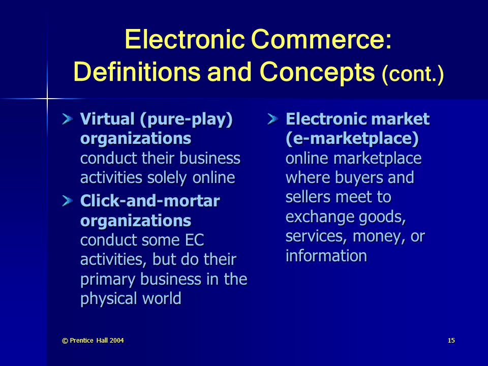 © Prentice Hall 200415 Electronic Commerce: Definitions and Concepts (cont.) Virtual (pure-play) organizations conduct their business activities solel