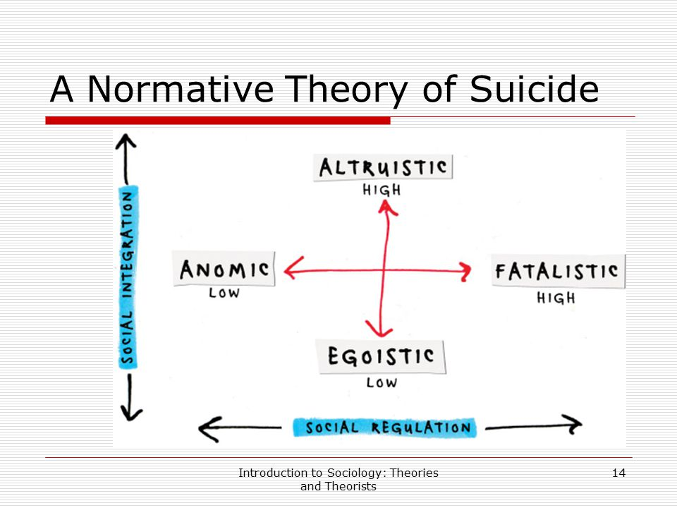 Introduction to Sociology: Theories and Theorists 14 A Normative Theory of Suicide