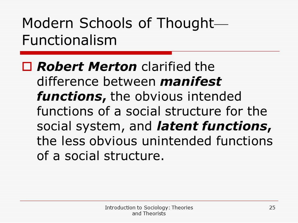 Introduction to Sociology: Theories and Theorists 25 Modern Schools of Thought — Functionalism  Robert Merton clarified the difference between manife