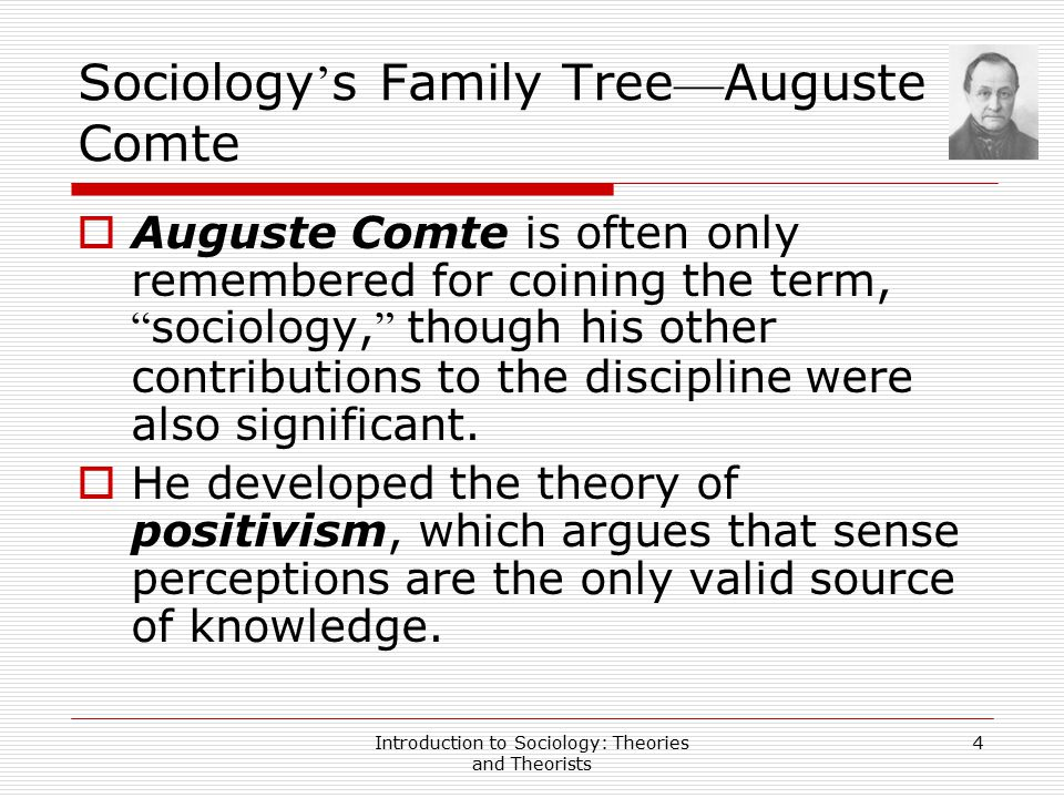 Introduction to Sociology: Theories and Theorists 5 Sociology ' s Family Tree — Auguste Comte  He also began to imagine how the scientific method, a procedure for acquiring knowledge that emphasized collecting concrete data through observation and experiment, could be applied to the study of social affairs.