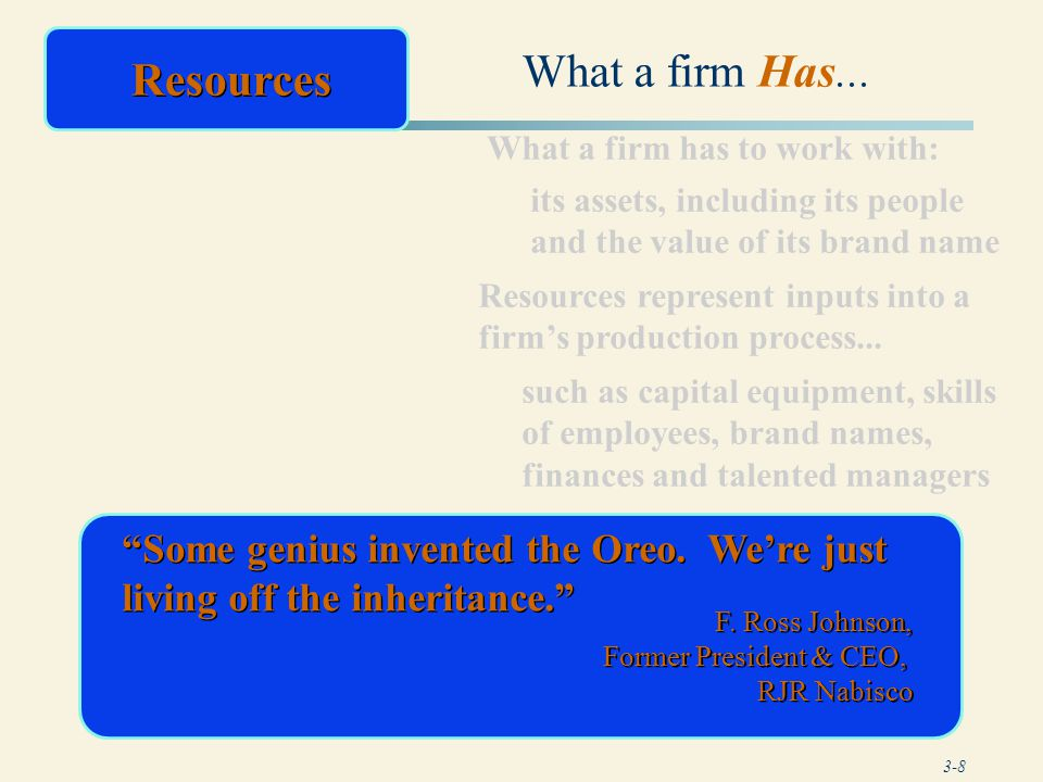 3-19 Primary Activities Associated with collecting, storing, and distributing the product or service to buyers Effective shipping processes Efficient finished goods warehousing processes Shipping of goods in large lot sizes Quality material handling equipment Inbound Logistics Operations Outbound Logistics Adapted from Exhibit 3.2 The Value Chain: Some Factors to Consider in Assessing a Firm's Primary Activities