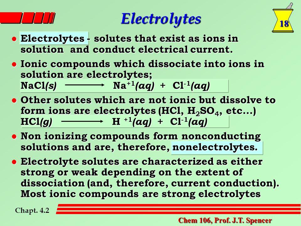 18 Chem 106, Prof. J.T. Spencer Electrolytes Chapt.