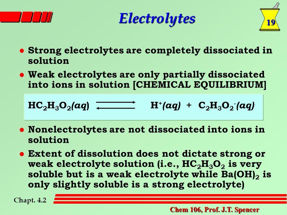 19 Chem 106, Prof. J.T. Spencer Electrolytes Chapt.