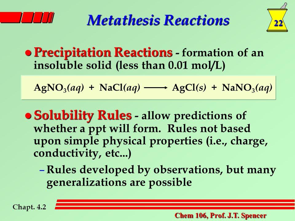 22 Chem 106, Prof. J.T. Spencer l Precipitation Reactions l Precipitation Reactions - formation of an insoluble solid (less than 0.01 mol/L) AgNO 3 (a