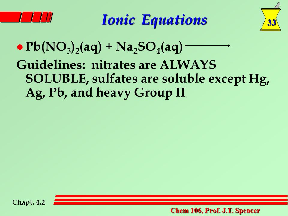 33 Chem 106, Prof. J.T. Spencer l Pb(NO 3 ) 2 (aq) + Na 2 SO 4 (aq) Guidelines: nitrates are ALWAYS SOLUBLE, sulfates are soluble except Hg, Ag, Pb, a