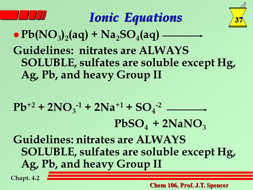 37 Chem 106, Prof. J.T. Spencer l Pb(NO 3 ) 2 (aq) + Na 2 SO 4 (aq) Guidelines: nitrates are ALWAYS SOLUBLE, sulfates are soluble except Hg, Ag, Pb, a