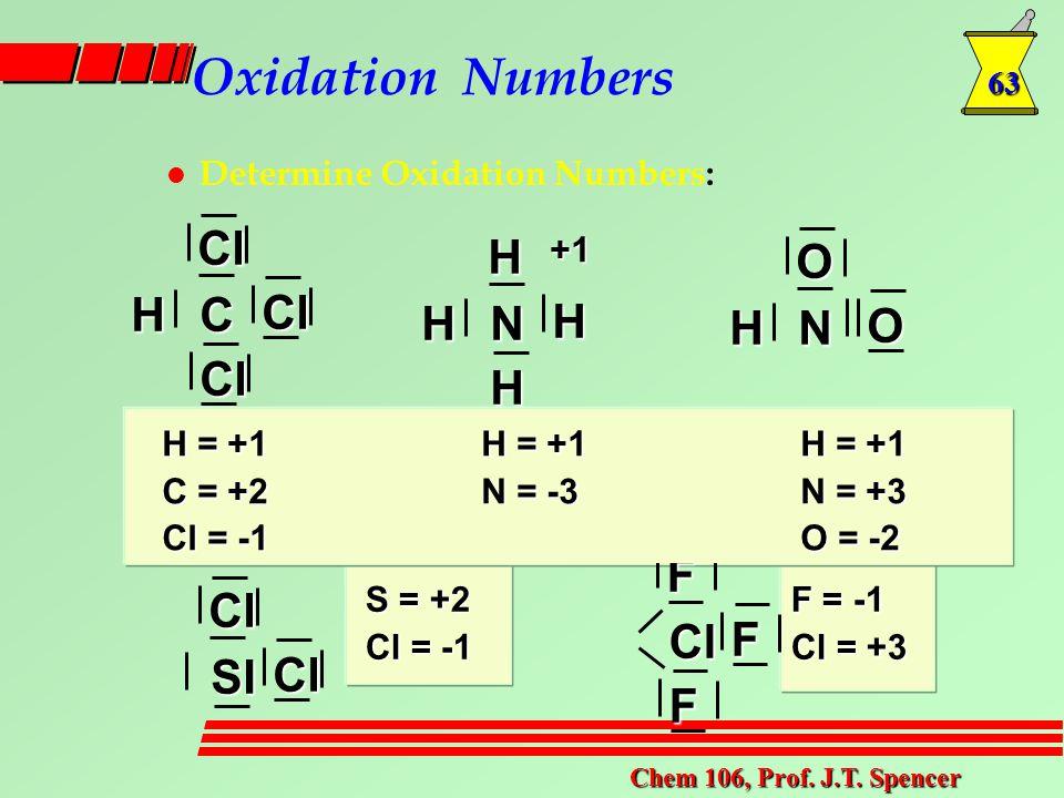 63 Chem 106, Prof. J.T. Spencer Oxidation Numbers l Determine Oxidation Numbers: Cl ClClCH H H H NH+1 OONH ClClSI F FFCl H = +1H = +1H = +1 C = +2N =