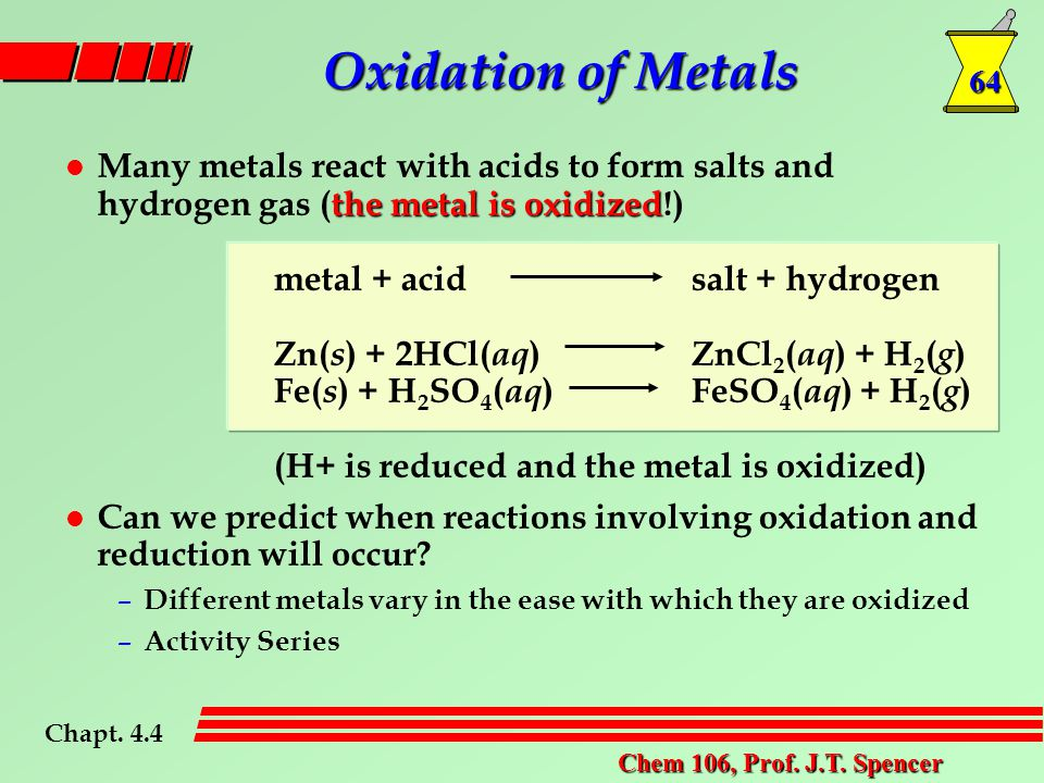 64 Chem 106, Prof. J.T. Spencer the metal is oxidized l Many metals react with acids to form salts and hydrogen gas (the metal is oxidized!) metal + a