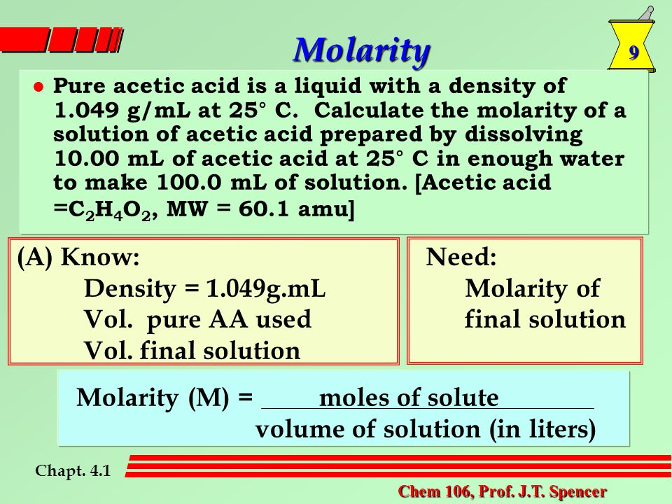 9 Chem 106, Prof. J.T. Spencer Molarity Pure acetic acid is a liquid with a density of 1.049 g/mL at 25° C. Calculate the molarity of a solution of ac