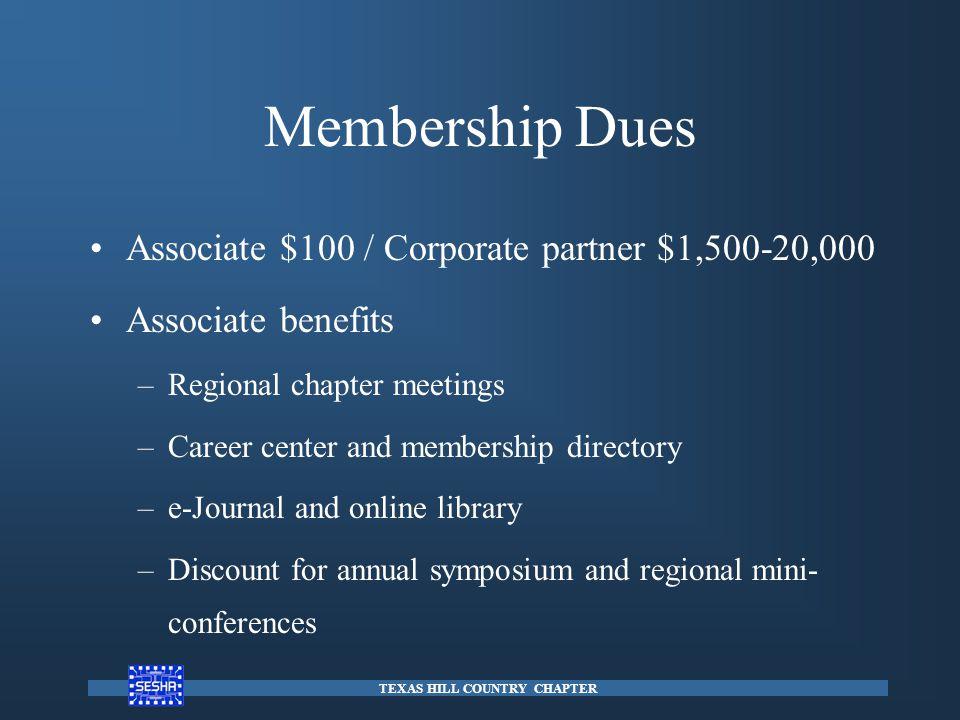 Membership Dues Associate $100 / Corporate partner $1,500-20,000 Associate benefits –Regional chapter meetings –Career center and membership directory