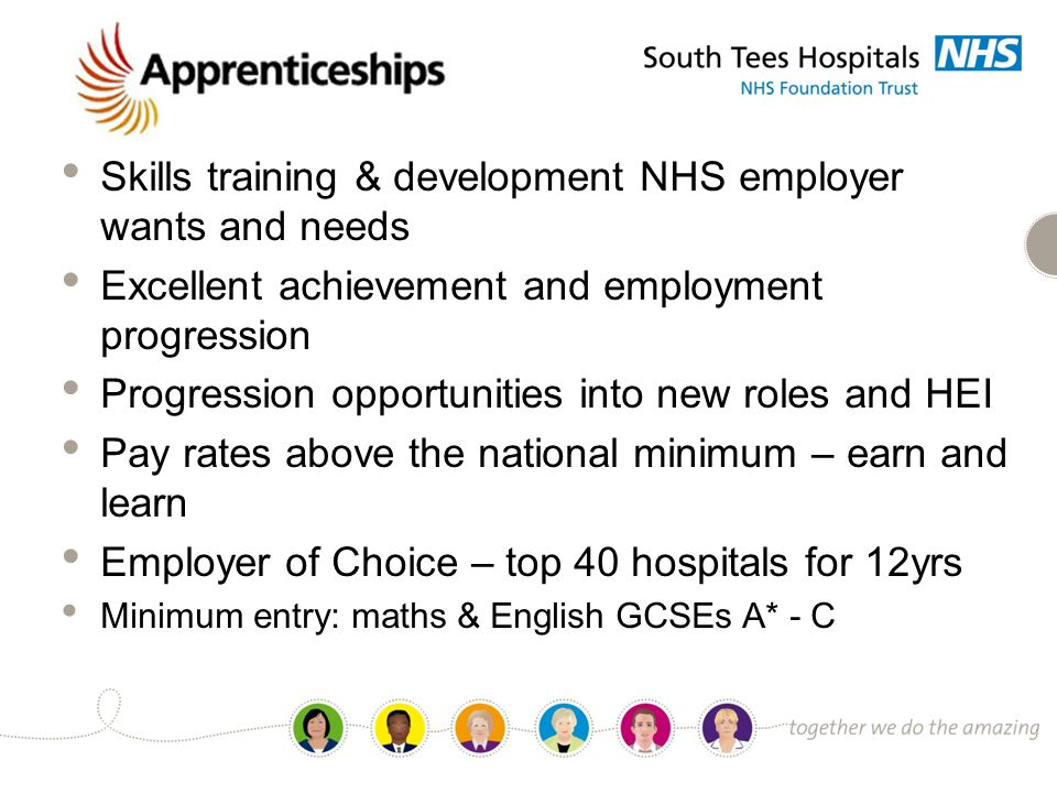 PROSPECT Programme Skills training & development NHS employer wants and needs Excellent achievement and employment progression Progression opportunities into new roles and HEI Pay rates above the national minimum – earn and learn Employer of Choice – top 40 hospitals for 12yrs Minimum entry: maths & English GCSEs A* - C