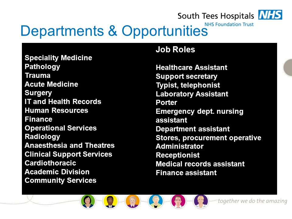 Departments & Opportunities Speciality Medicine Pathology Trauma Acute Medicine Surgery IT and Health Records Human Resources Finance Operational Services Radiology Anaesthesia and Theatres Clinical Support Services Cardiothoracic Academic Division Community Services Job Roles Healthcare Assistant Support secretary Typist, telephonist Laboratory Assistant Porter Emergency dept.