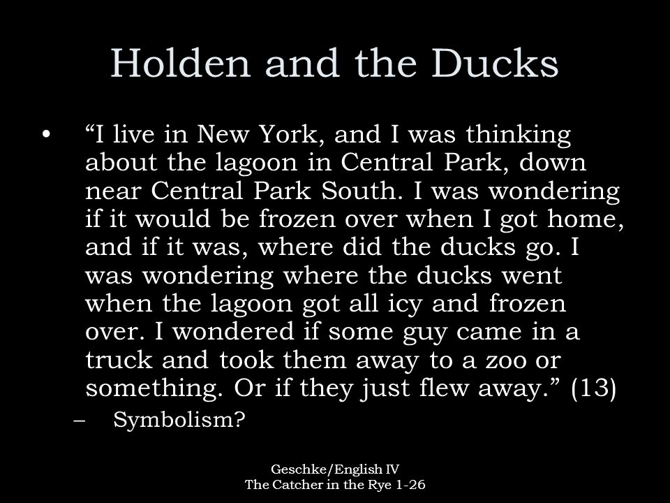 """Geschke/English IV The Catcher in the Rye 1-26 Holden and the Ducks """"I live in New York, and I was thinking about the lagoon in Central Park, down nea"""