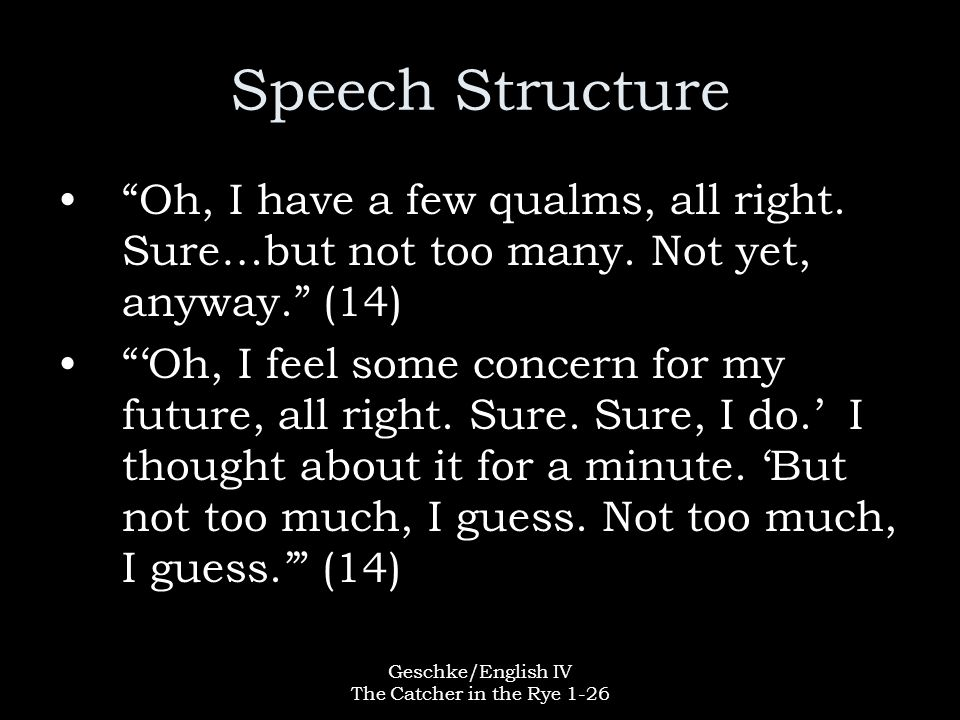 """Geschke/English IV The Catcher in the Rye 1-26 Speech Structure """"Oh, I have a few qualms, all right. Sure…but not too many. Not yet, anyway."""" (14) """"'O"""