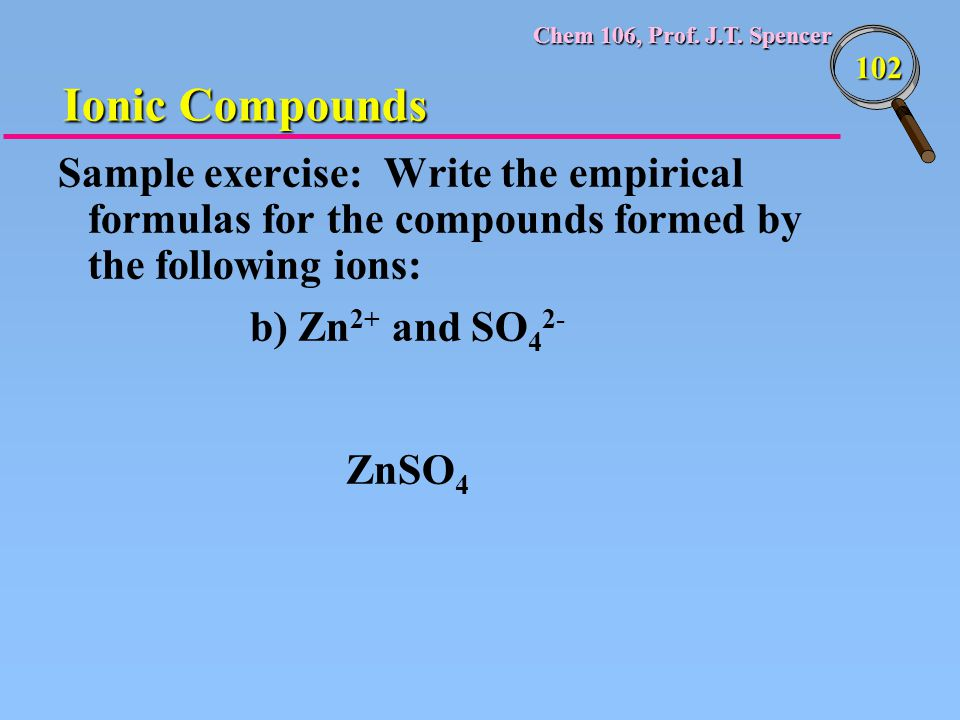 Chem 106, Prof. J.T. Spencer 102 Sample exercise: Write the empirical formulas for the compounds formed by the following ions: b) Zn 2+ and SO 4 2- Zn