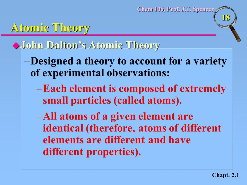 Chem 106, Prof. J.T. Spencer 18 u John Dalton's Atomic Theory –Designed a theory to account for a variety of experimental observations: –Each element