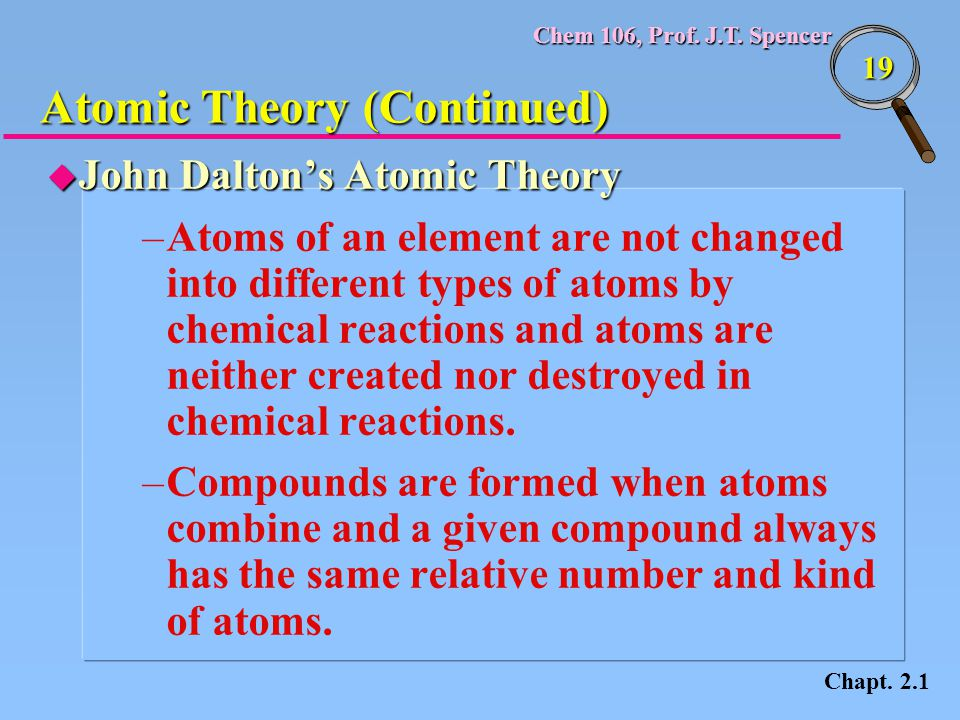 Chem 106, Prof. J.T. Spencer 19 u John Dalton's Atomic Theory –Atoms of an element are not changed into different types of atoms by chemical reactions