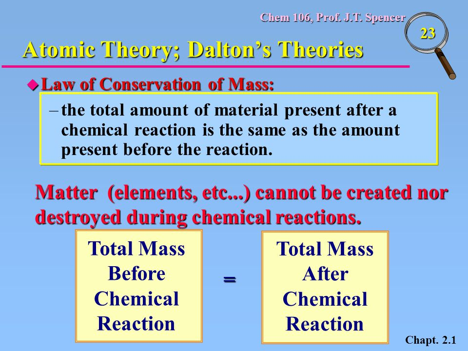 Chem 106, Prof. J.T. Spencer 23 u Law of Conservation of Mass: –the total amount of material present after a chemical reaction is the same as the amou