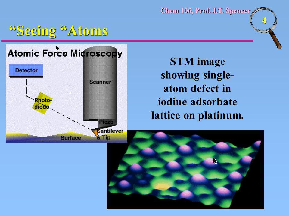 "Chem 106, Prof. J.T. Spencer 4 STM image showing single- atom defect in iodine adsorbate lattice on platinum. ""Seeing ""Atoms"