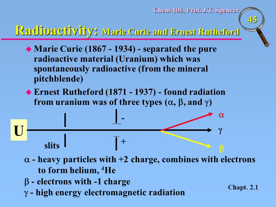 Chem 106, Prof. J.T. Spencer 45 u Marie Curie (1867 - 1934) - separated the pure radioactive material (Uranium) which was spontaneously radioactive (f