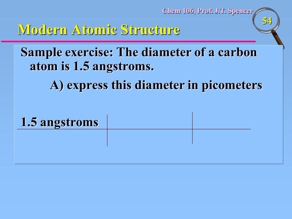 Chem 106, Prof. J.T. Spencer 54 Modern Atomic Structure Sample exercise: The diameter of a carbon atom is 1.5 angstroms. A) express this diameter in p