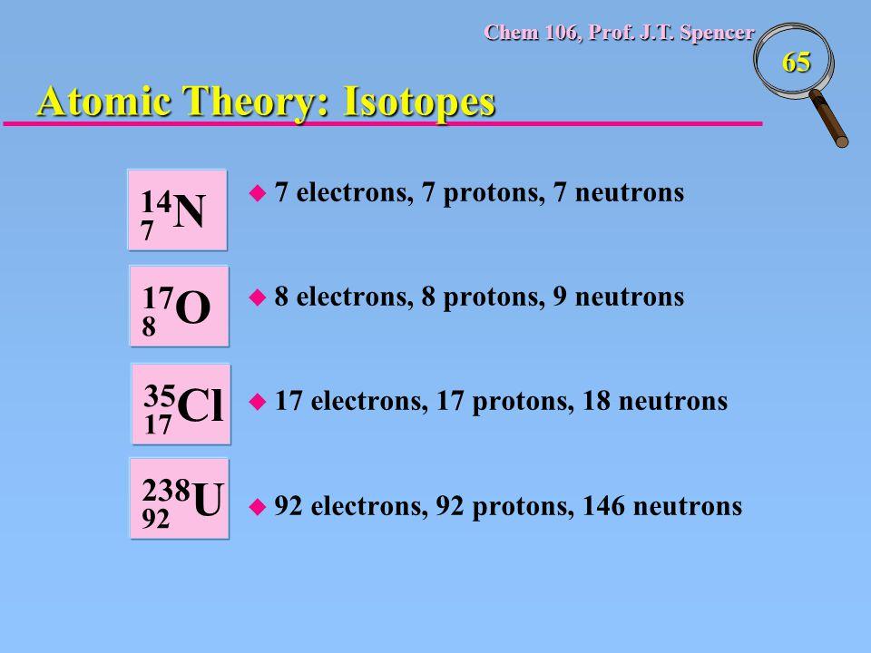 Chem 106, Prof. J.T. Spencer 65 u 7 electrons, 7 protons, 7 neutrons u 8 electrons, 8 protons, 9 neutrons u 17 electrons, 17 protons, 18 neutrons u 92