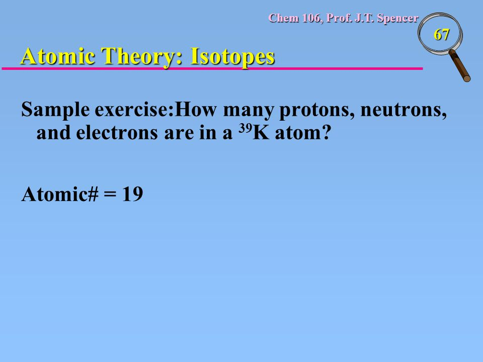 Chem 106, Prof. J.T. Spencer 67 Sample exercise:How many protons, neutrons, and electrons are in a 39 K atom? Atomic# = 19 Atomic Theory: Isotopes