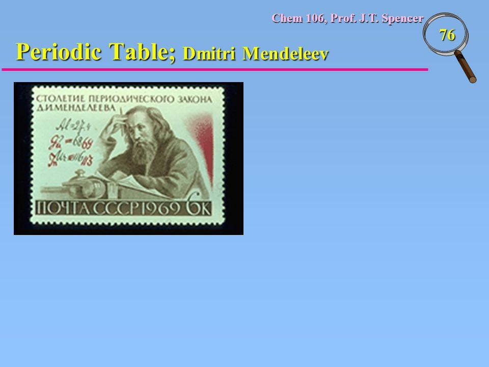Chem 106, Prof. J.T. Spencer 76 Periodic Table; Dmitri Mendeleev