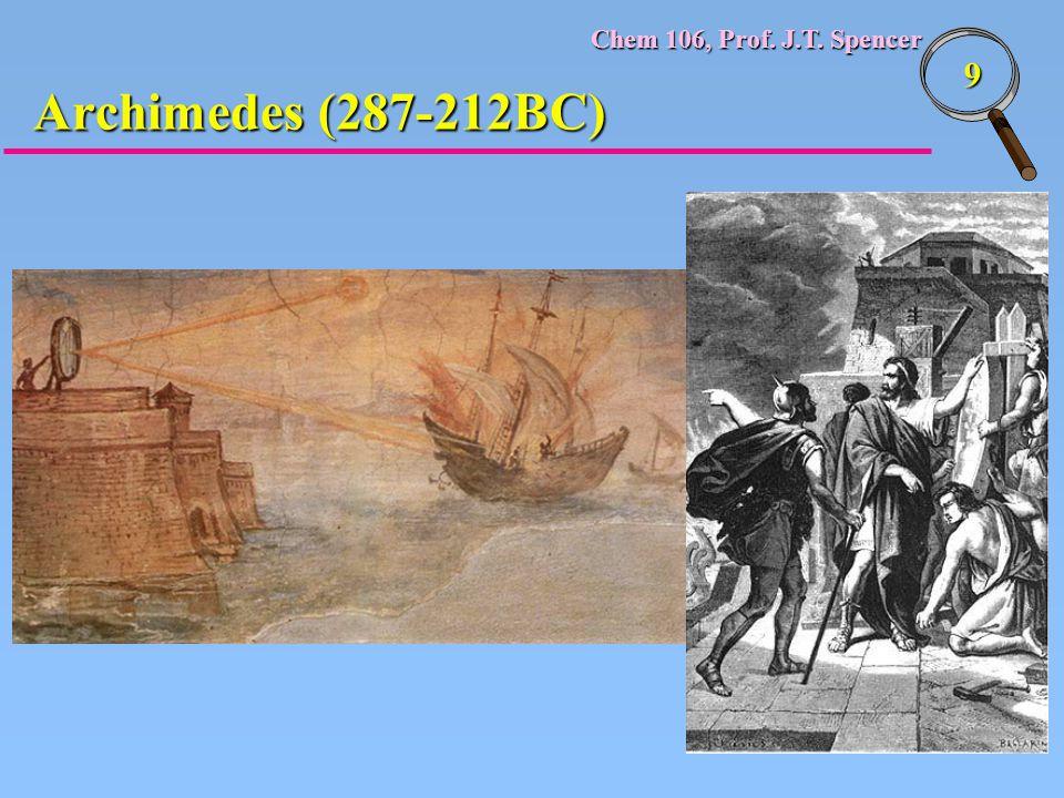 Chem 106, Prof. J.T. Spencer 9 Archimedes (287-212BC)