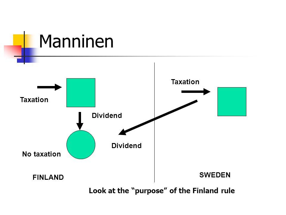 "Manninen FINLAND SWEDEN Dividend Taxation No taxation Taxation Look at the ""purpose"" of the Finland rule"