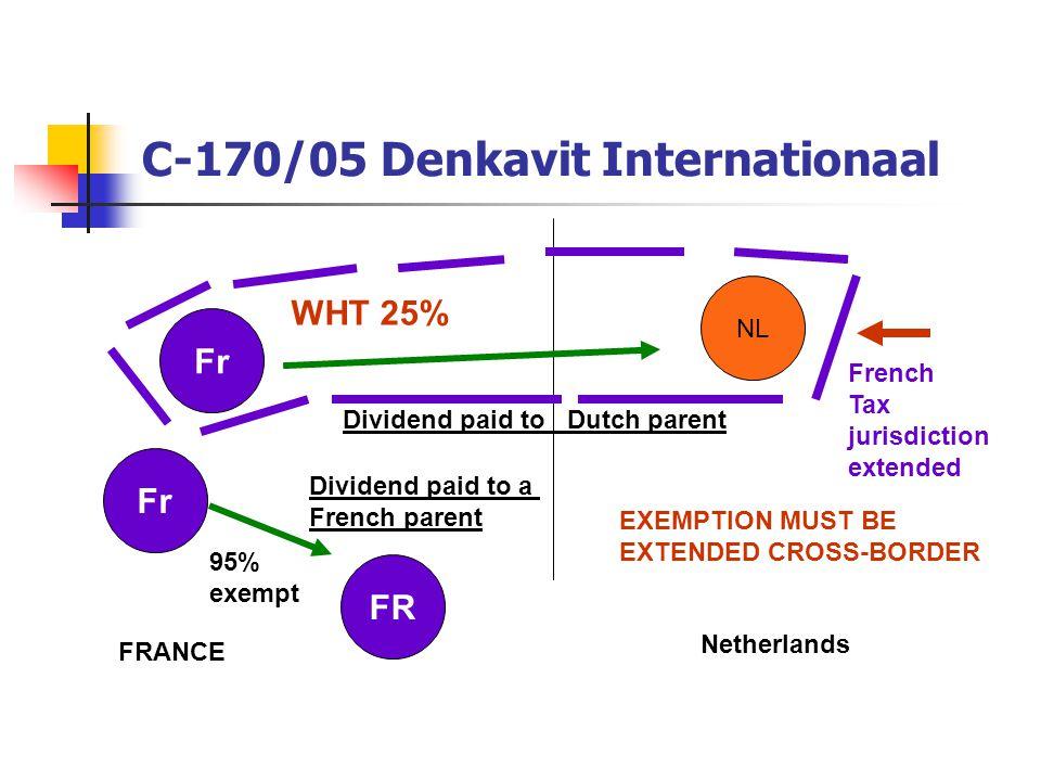 C-170/05 Denkavit Internationaal NL Fr FRANCE Netherlands Dividend paid to Dutch parent WHT 25% FR Fr Dividend paid to a French parent 95% exempt EXEM