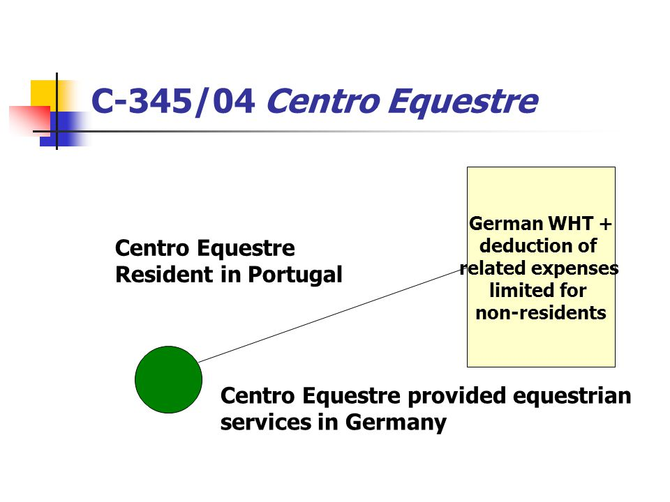 C-345/04 Centro Equestre German WHT + deduction of related expenses limited for non-residents Centro Equestre provided equestrian services in Germany