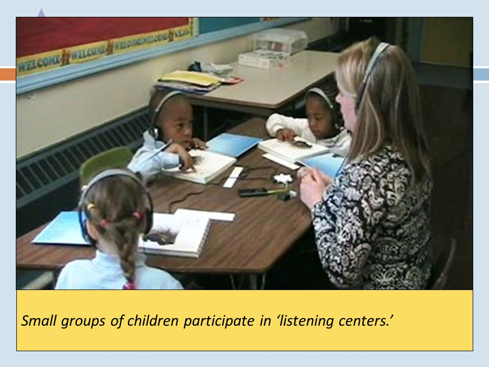 Small groups of children participate in 'listening centers.'