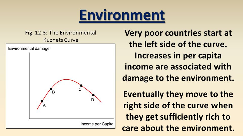 Fig. 12-3: The Environmental Kuznets Curve Environment Very poor countries start at the left side of the curve. Increases in per capita income are ass