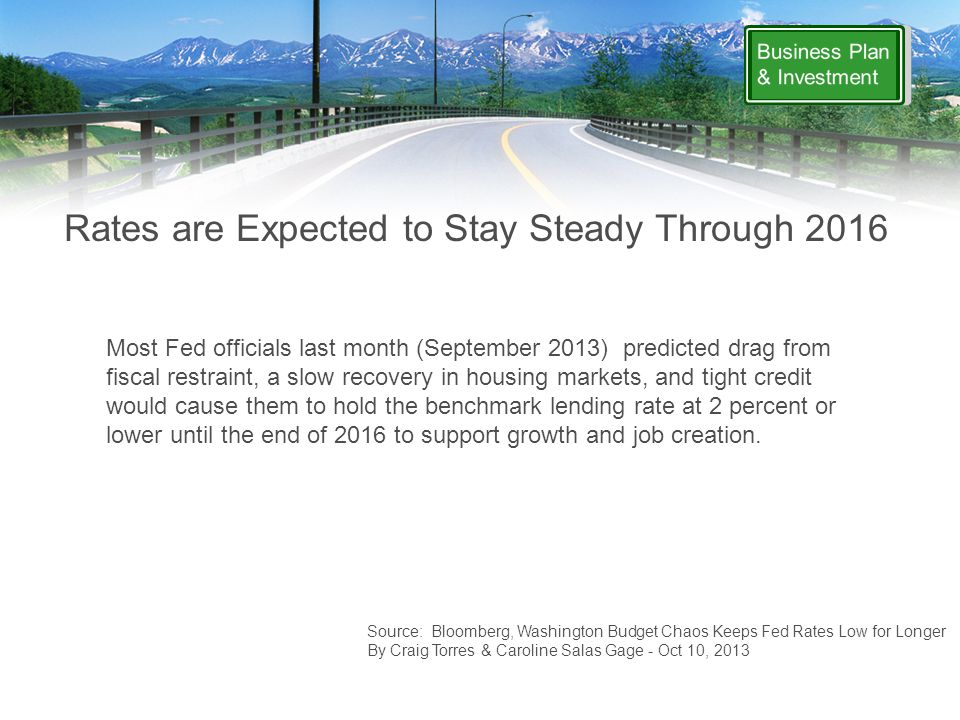 Rates are Expected to Stay Steady Through 2016 Source: Bloomberg, Washington Budget Chaos Keeps Fed Rates Low for Longer By Craig Torres & Caroline Salas Gage - Oct 10, 2013 Most Fed officials last month (September 2013) predicted drag from fiscal restraint, a slow recovery in housing markets, and tight credit would cause them to hold the benchmark lending rate at 2 percent or lower until the end of 2016 to support growth and job creation.