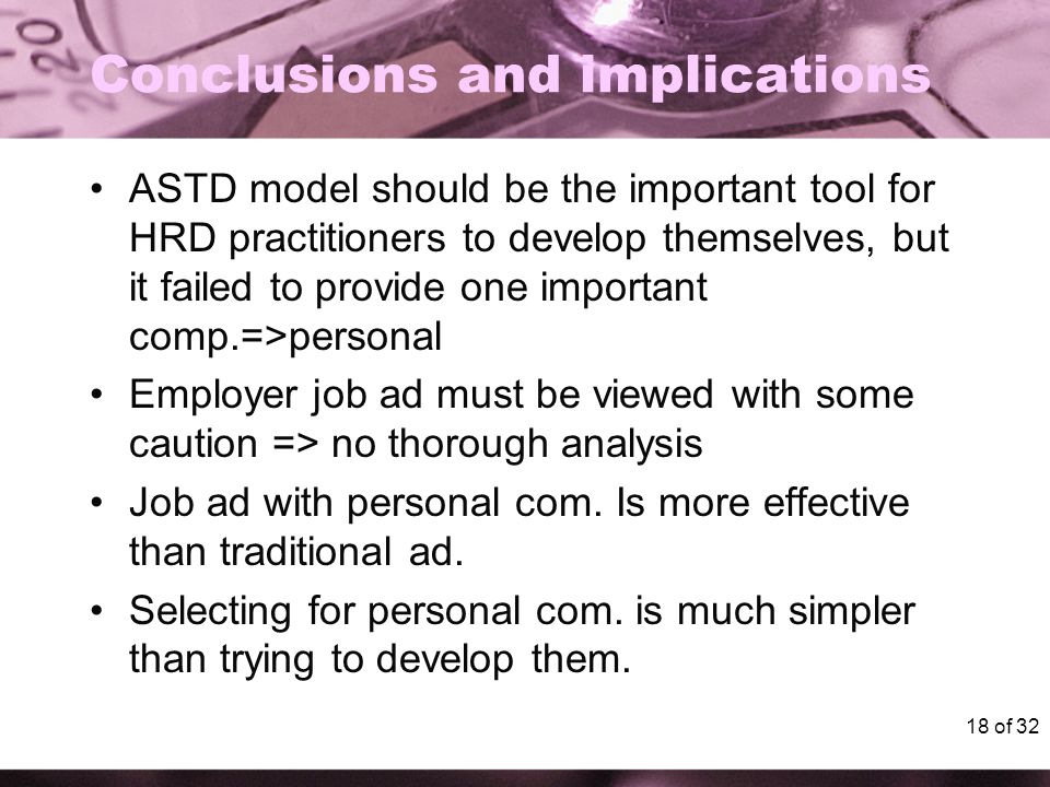 18 of 32 Conclusions and implications ASTD model should be the important tool for HRD practitioners to develop themselves, but it failed to provide one important comp.=>personal Employer job ad must be viewed with some caution => no thorough analysis Job ad with personal com.