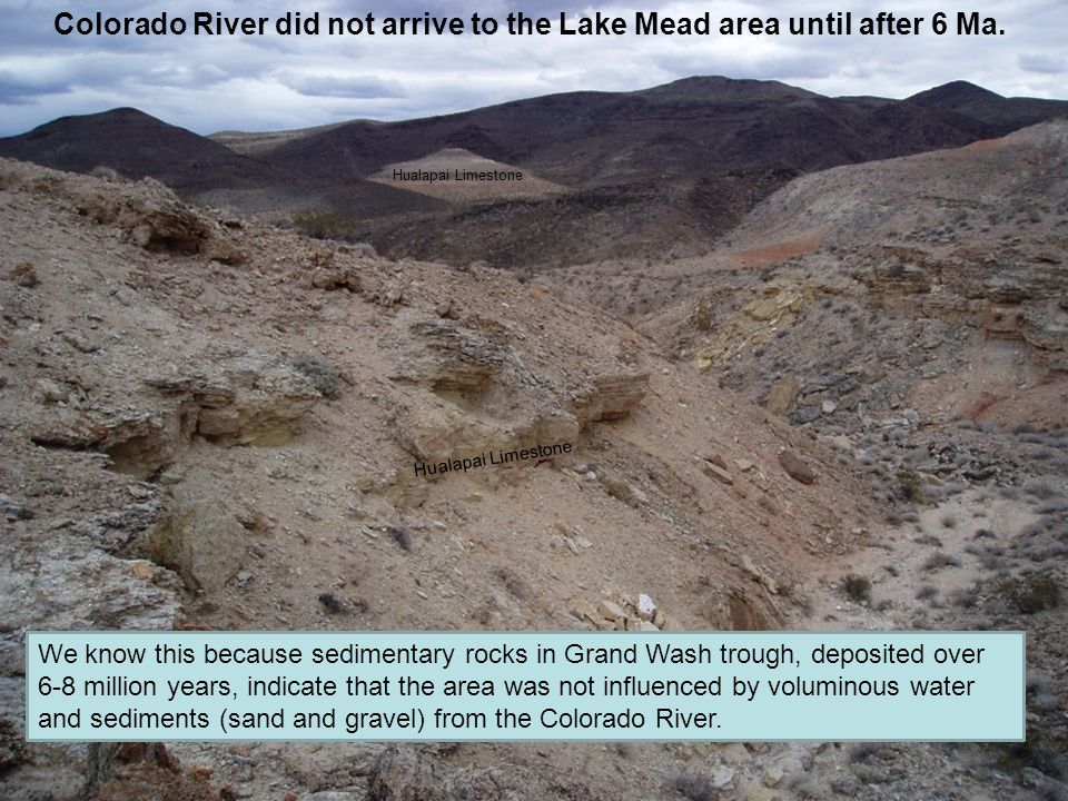 Colorado River did not arrive to the Lake Mead area until after 6 Ma.