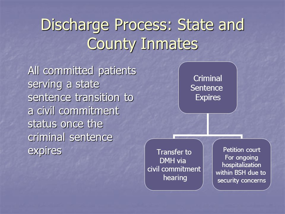 Discharge Process: State and County Inmates All committed patients serving a state sentence transition to a civil commitment status once the criminal sentence expires Criminal Sentence Expires Transfer to DMH via civil commitment hearing Petition court For ongoing hospitalization within BSH due to security concerns