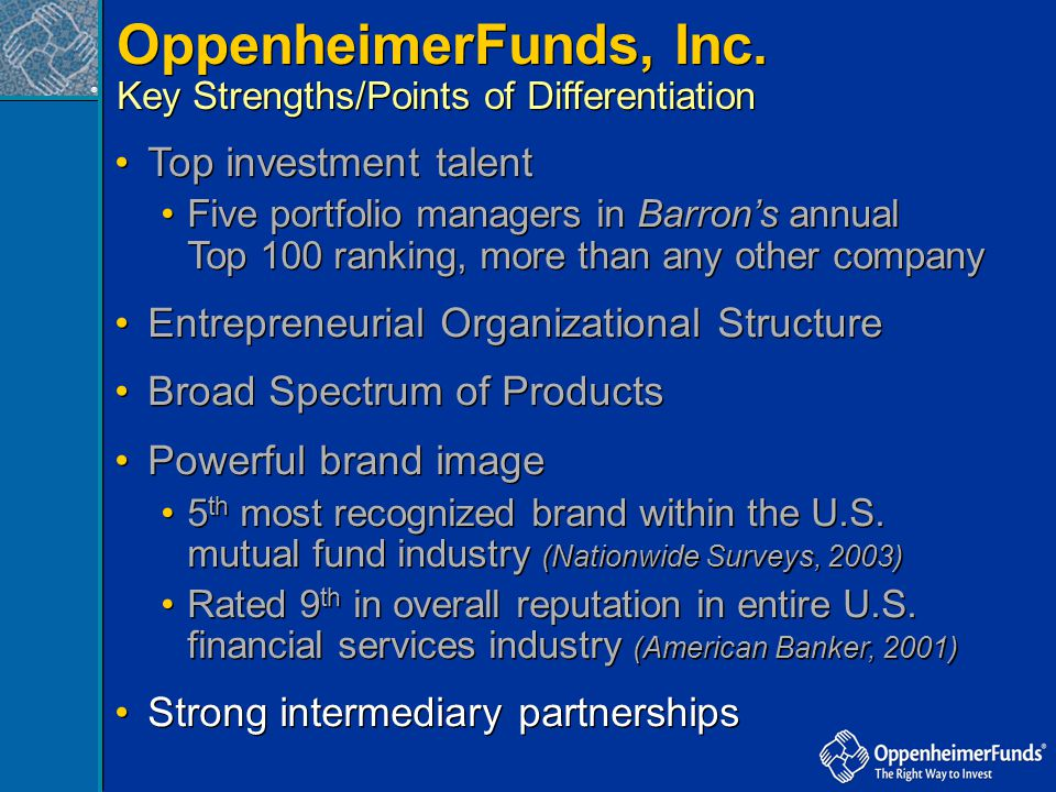 ® Top investment talent Five portfolio managers in Barron's annual Top 100 ranking, more than any other company Entrepreneurial Organizational Structu